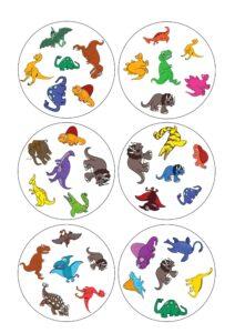 Карточки Доббль бесплатно динозавры