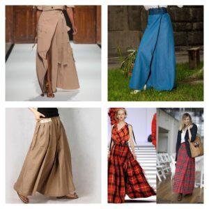 мода 2018 юбки макси с запахом