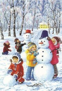 задание адвент слепить снеговика