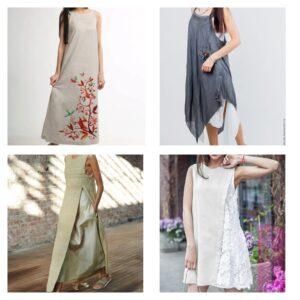 модные платья из льна 2018