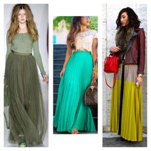 длинные плиссированные юбки 2018