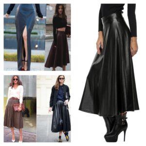 тренд 2018кожаные юбки