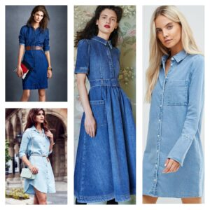 молные тренды 2018 джинсовое платье