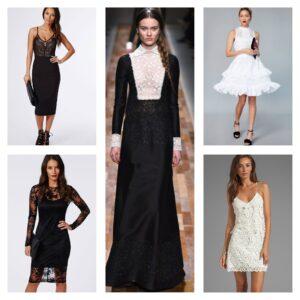 платья из черного и белого кружева