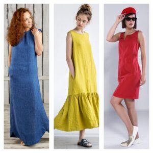 цветные платья из льна