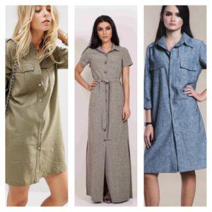 модные льняные платья рубашки 2018