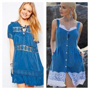 модное платье с кружевом из денима