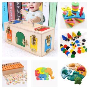 игрушки по монтессори, пазлы, пирамидки в 1 год