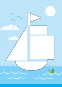 Бесплатный шаблон аппликации Кораблик