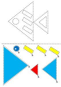 """Распечатать аппликации для детей 4 лет """"Геометрические фигуры"""""""
