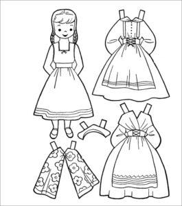 черно белый шаблон бумажной куклы девочки раскрасить