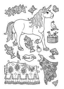 черно белый шаблон бумажной куклы животные раскрасить
