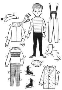 скачать шаблон бумажной куклы мальчика