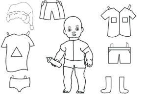 шаблон бумажная кукла малыш скачать
