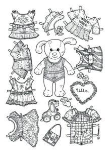 образ черно белой бумажной куклы для раскрашивания и печати