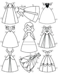 распечатать и раскрасить бумажную куклу принцесса