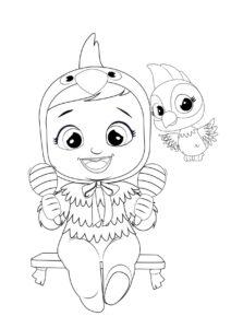 Раскраска Cry Babies Лори попугай