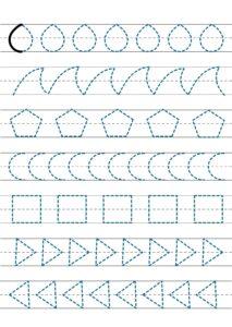 Задания для дошкольников для изучения свойств геометрических фигур - прописи-обводилки по пунктиру