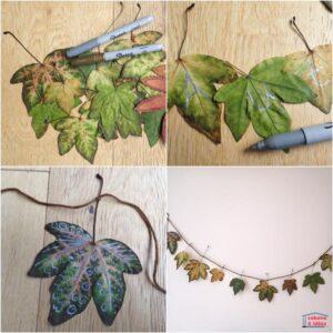 поделка гирлянда из осенних листьев