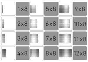 Распечатать карточки мемори с умножением