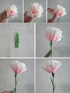 Цветы гвоздики из гофрированной бумаги