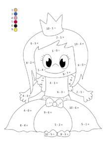 Математические раскраски с примерами на сложение и вычитание
