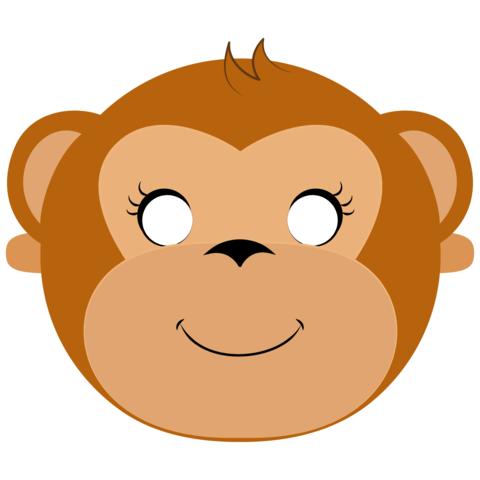 Печать маски для детей обезьяна