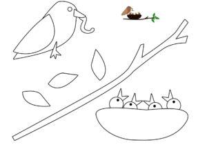 Аппликации из бумаги Птицы распечатать шаблон бесплатно