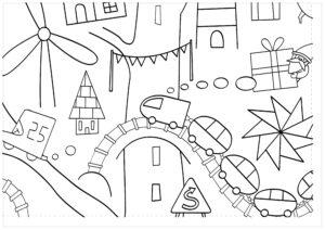 Большая новогодняя раскраска из 22 листов А4