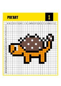 Пиксельная раскраска Pixel Art с динозавром