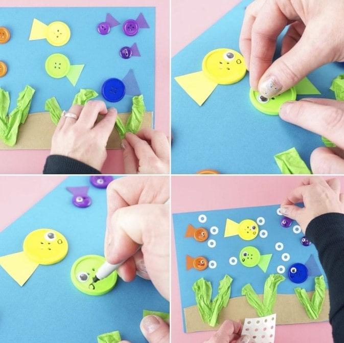 Поделка Аквариум с рыбками для детей - пошаговая инструкция