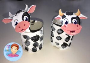 """Поделка из рулонов от туалетной бумаги для детей """"Коровы"""""""
