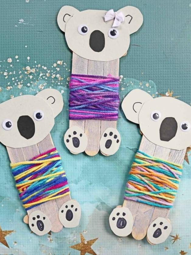 поделки из палочек от мороженого - коала