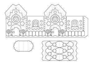 Пряничный домик - распечатать шаблон