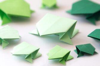 Прыгающая лягушка оригами из бумаги