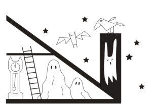 раскраска на стену Дом с привидениями