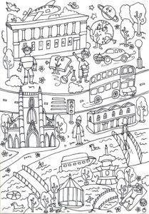 Раскраска Лондон на пол или стену для склеивания