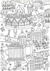Большая раскраска Париж на 15 листах