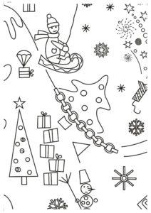 Новогодняя раскраска - распечатать и склеить