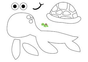 Аппликация Морская черепаха - распечатать шаблон бесплатно