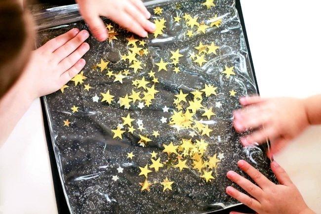 Сенсорная сумка Звездная ночь из пакета и глицерина