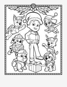 Новогодние раскраски Щенячий Патруль распечатать