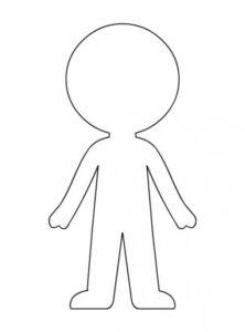силуэт бумажной куклы для раскрашивания и печати