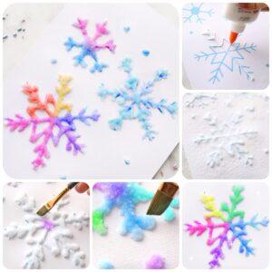 Снежинки из клея, соли и акварели