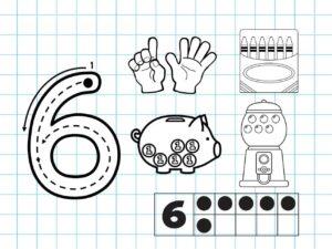 Распечатать задания для детей с цифрой 6