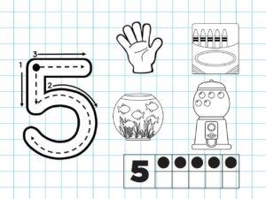 Распечатать задания для детей с цифрой 5